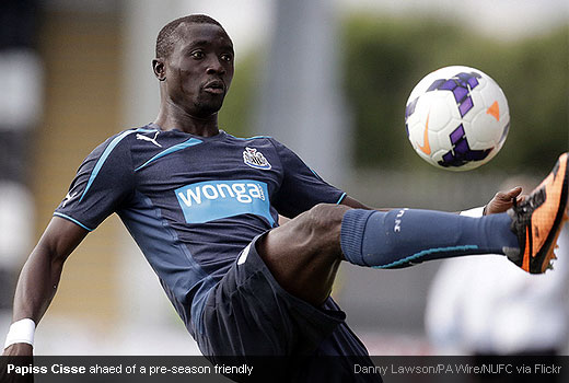 Papiss Cisse ahaed of a pre-season friendly