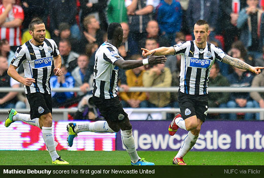 Mathieu Debuchy scores his first goal for Newcastle United