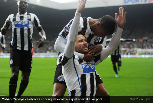 Yohan Cabaye celebrates scoring Newcastle's goal against Liverpool