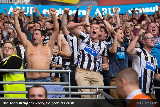 The Toon Army celebrating the goals at Cardiff