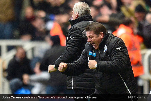 John Carver celebrates Newcastle's second goal against Chelsea
