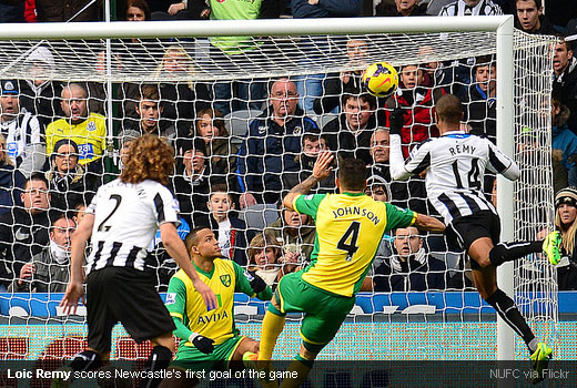 Loic Remy scores Newcastle's first goal of the game