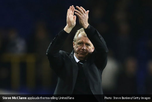 Steve McClaren applauds the travelling United fans